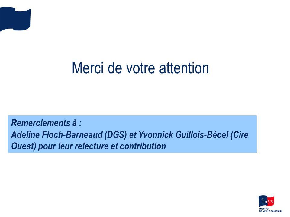 Merci de votre attention Remerciements à : Adeline Floch-Barneaud (DGS) et Yvonnick Guillois-Bécel (Cire Ouest) pour leur relecture et contribution