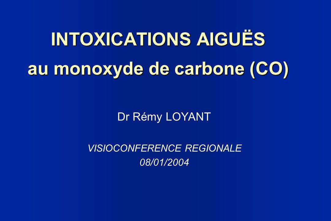 INTOXICATIONS AIGUËS au monoxyde de carbone (CO) Dr Rémy LOYANT VISIOCONFERENCE REGIONALE 08/01/2004