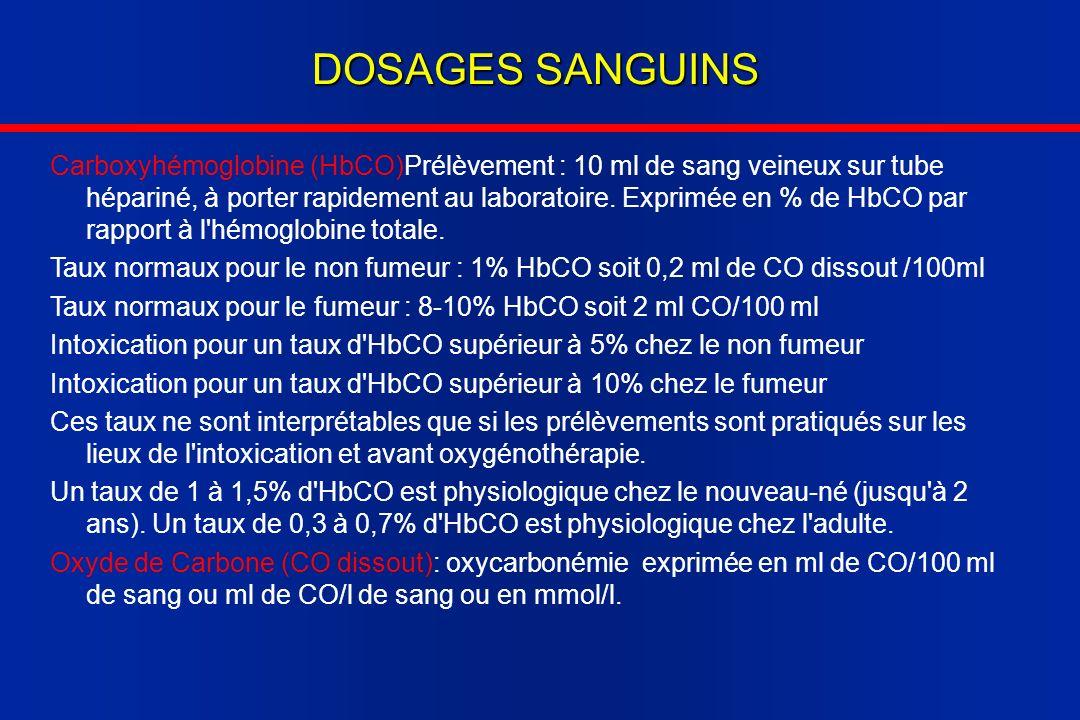 DOSAGES SANGUINS Carboxyhémoglobine (HbCO)Prélèvement : 10 ml de sang veineux sur tube hépariné, à porter rapidement au laboratoire. Exprimée en % de