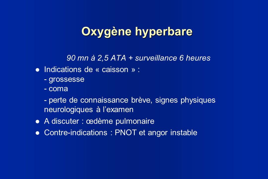 Oxygène hyperbare 90 mn à 2,5 ATA + surveillance 6 heures Indications de « caisson » : - grossesse - coma - perte de connaissance brève, signes physiq