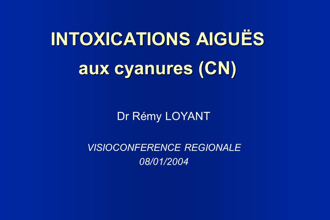 INTOXICATIONS AIGUËS aux cyanures (CN) Dr Rémy LOYANT VISIOCONFERENCE REGIONALE 08/01/2004