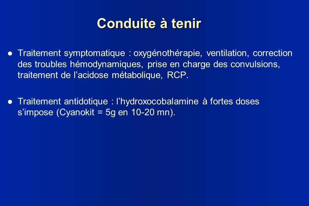 Conduite à tenir Traitement symptomatique : oxygénothérapie, ventilation, correction des troubles hémodynamiques, prise en charge des convulsions, tra