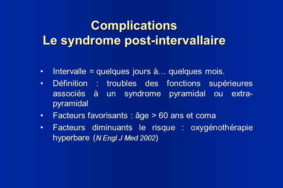 Complications Le syndrome post-intervallaire Intervalle = quelques jours à… quelques mois. Définition : troubles des fonctions supérieures associés à
