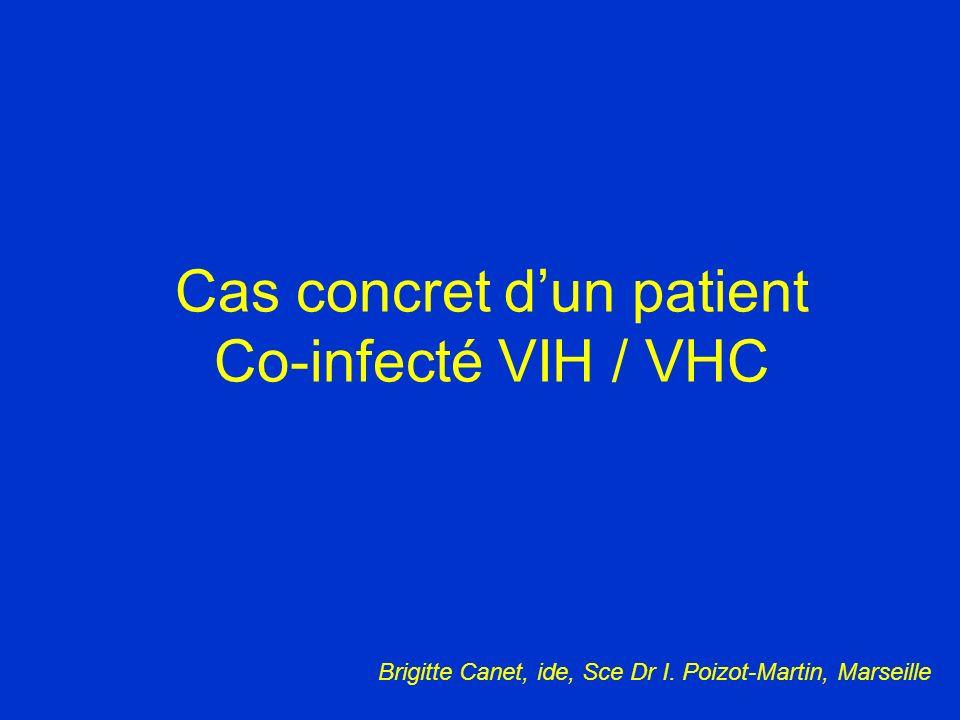 Avant J0 Suivi de trt Post trt Évaluation de lefficacité du traitement : ARN VHC indétectable Réponse virologique : la baisse de la CV à S4 a une valeur positive de réponse (85%) baisse significative de la CV/VHC a S12 (>2 log) Durant son Trt Mme C.