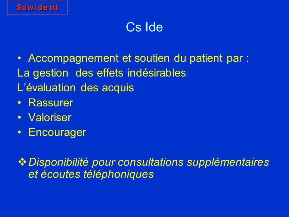 Cs Ide Accompagnement et soutien du patient par : La gestion des effets indésirables Lévaluation des acquis Rassurer Valoriser Encourager Disponibilit