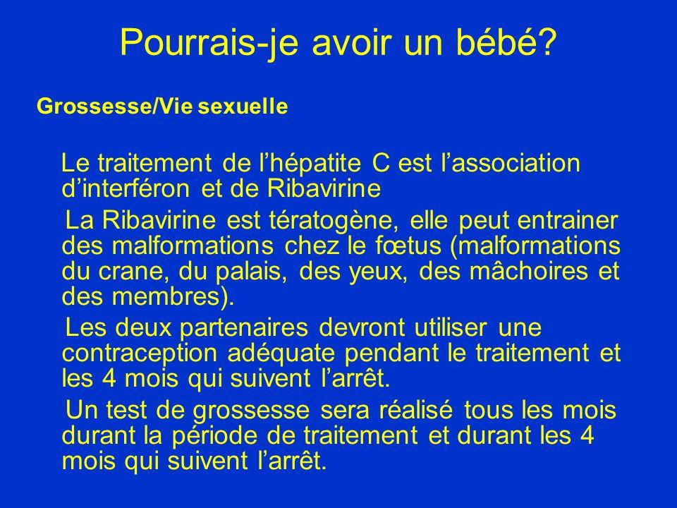 Pourrais-je avoir un bébé? Grossesse/Vie sexuelle Le traitement de lhépatite C est lassociation dinterféron et de Ribavirine La Ribavirine est tératog