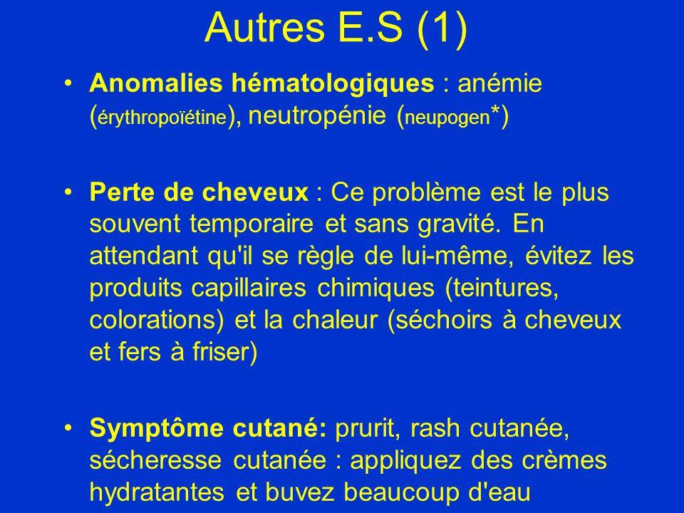 Autres E.S (1) Anomalies hématologiques : anémie ( érythropoïétine ), neutropénie ( neupogen *) Perte de cheveux : Ce problème est le plus souvent tem
