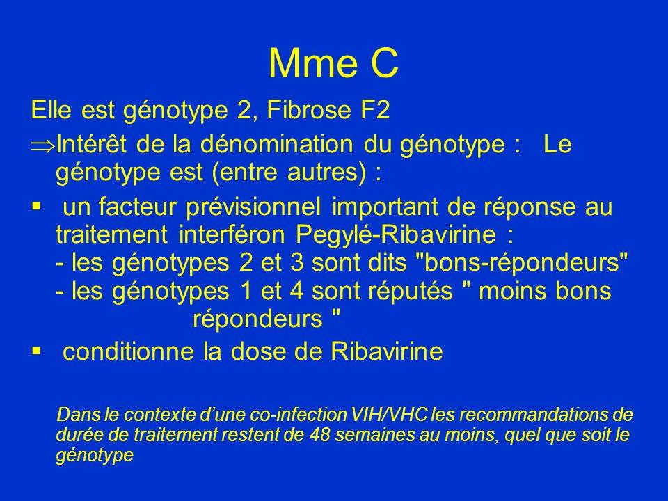 Mme C Elle est génotype 2, Fibrose F2 Intérêt de la dénomination du génotype : Le génotype est (entre autres) : un facteur prévisionnel important de r