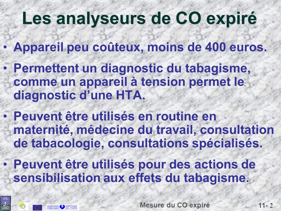 11- 2 Mesure du CO expiré Les analyseurs de CO expiré Appareil peu coûteux, moins de 400 euros. Permettent un diagnostic du tabagisme, comme un appare