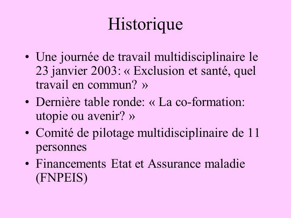 Historique Une journée de travail multidisciplinaire le 23 janvier 2003: « Exclusion et santé, quel travail en commun.