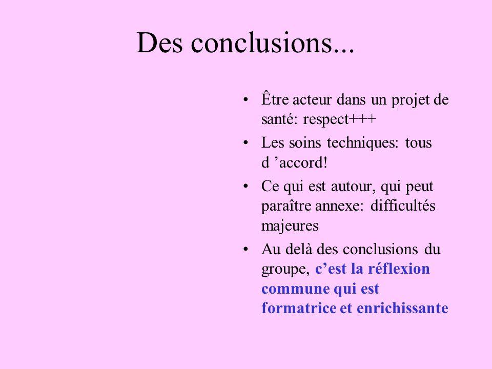 Des conclusions...