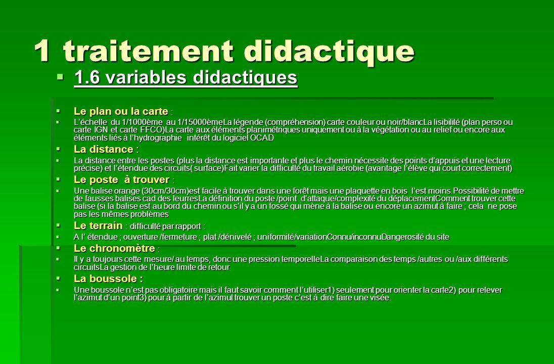 1 traitement didactique 1.6 variables didactiques 1.6 variables didactiques Le plan ou la carte : Le plan ou la carte : Léchelle du 1/1000ème au 1/150