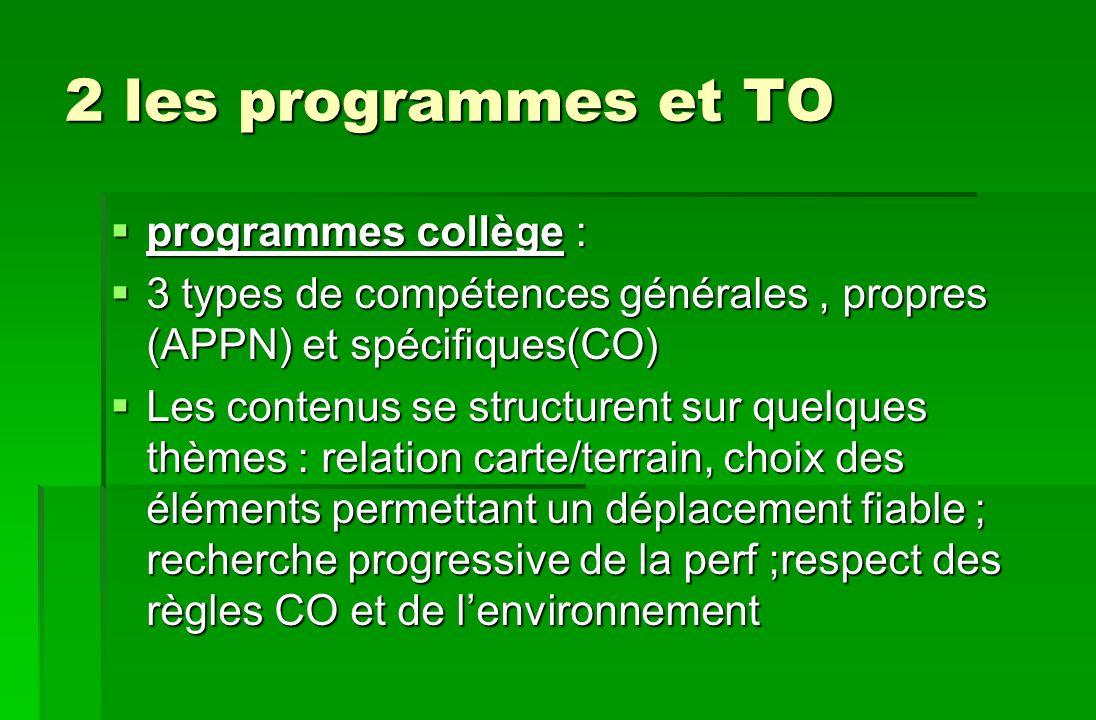 2 les programmes et TO programmes collège : programmes collège : 3 types de compétences générales, propres (APPN) et spécifiques(CO) 3 types de compét