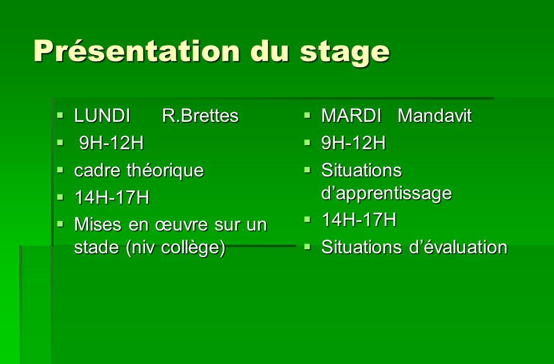 Présentation du stage LUNDI R.Brettes LUNDI R.Brettes 9H-12H 9H-12H cadre théorique cadre théorique 14H-17H 14H-17H Mises en œuvre sur un stade (niv c