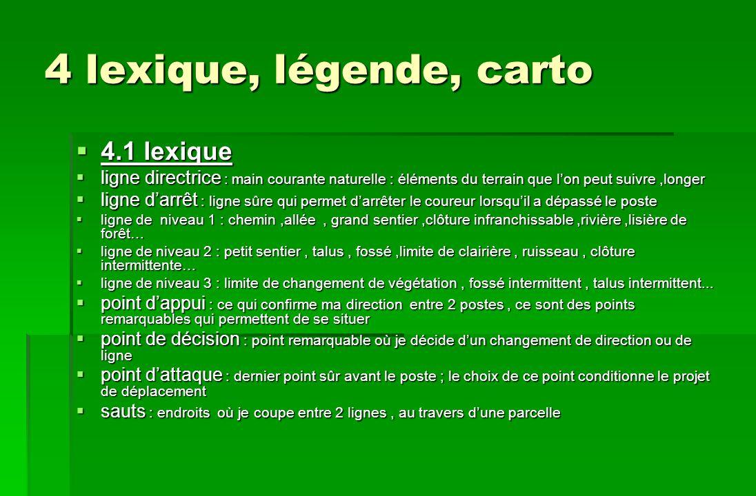 4 lexique, légende, carto 4.1 lexique 4.1 lexique ligne directrice : main courante naturelle : éléments du terrain que lon peut suivre,longer ligne di