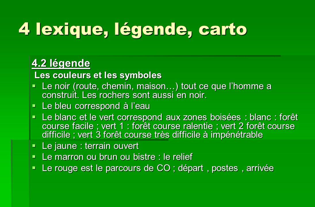4 lexique, légende, carto 4.2 légende Les couleurs et les symboles Les couleurs et les symboles Le noir (route, chemin, maison…) tout ce que lhomme a