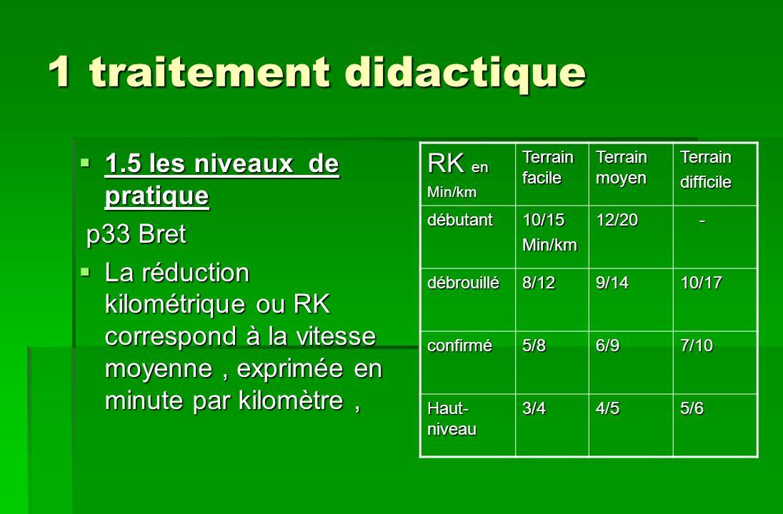 1 traitement didactique 1.5 les niveaux de pratique 1.5 les niveaux de pratique p33 Bret p33 Bret La réduction kilométrique ou RK correspond à la vite