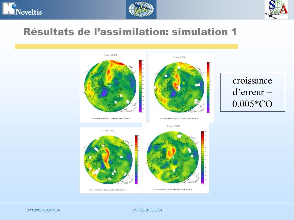 13/11/2008 ADOMOCANOV-3554-SL-6634 Résultats de lassimilation: simulation 1 croissance derreur = 0.005*CO