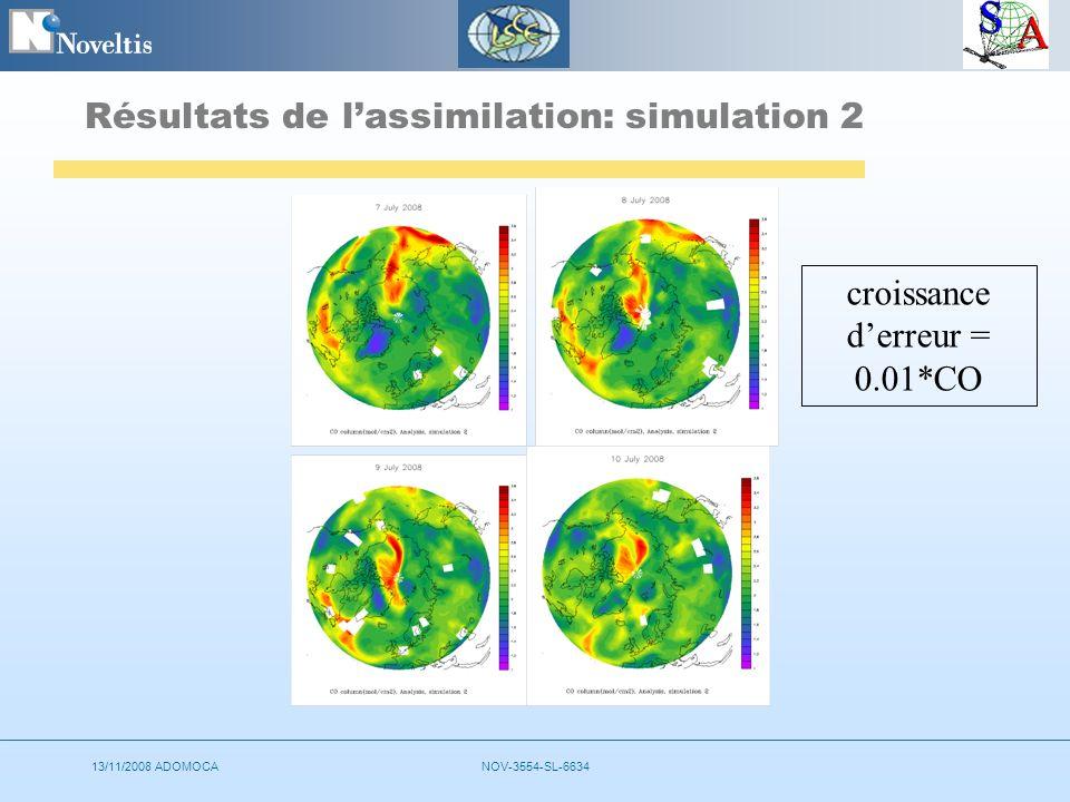 13/11/2008 ADOMOCANOV-3554-SL-6634 Résultats de lassimilation: simulation 2 croissance derreur = 0.01*CO