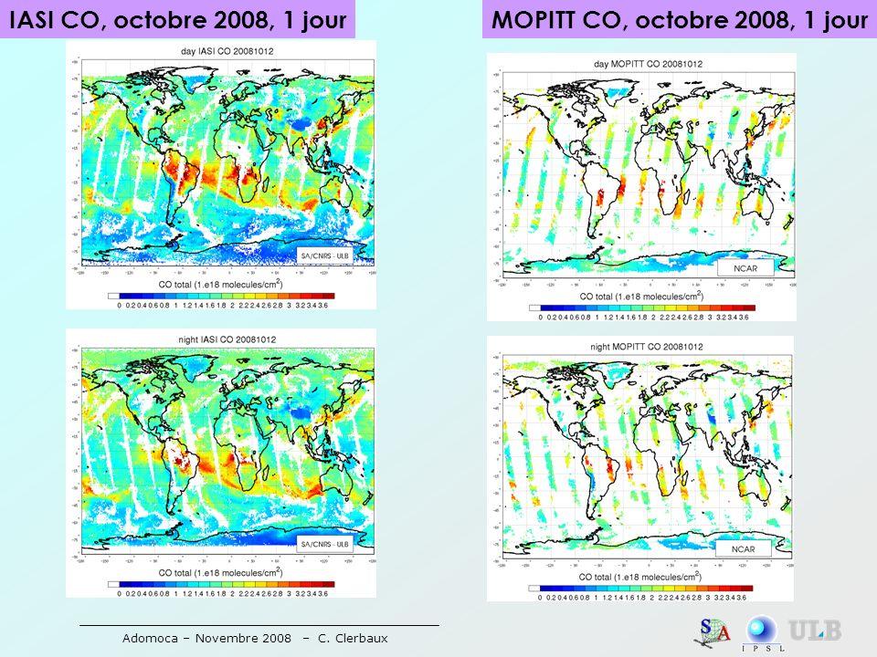 Adomoca – Novembre 2008 – C. Clerbaux IASI CO, octobre 2008, 1 jourMOPITT CO, octobre 2008, 1 jour