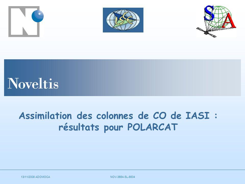 13/11/2008 ADOMOCANOV-3554-SL-6634 Assimilation des colonnes de CO de IASI : résultats pour POLARCAT