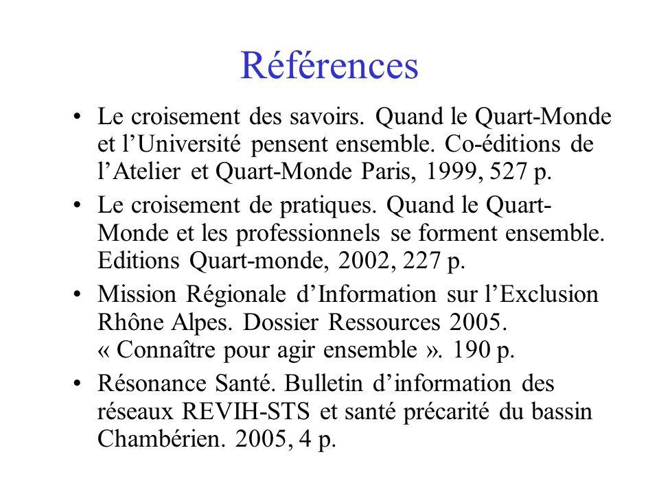 Références Le croisement des savoirs. Quand le Quart-Monde et lUniversité pensent ensemble. Co-éditions de lAtelier et Quart-Monde Paris, 1999, 527 p.