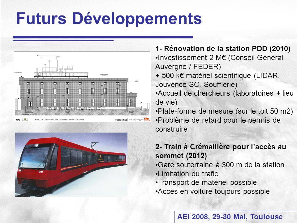 AEI 2008, 29-30 Mai, Toulouse Futurs Développements 1- Rénovation de la station PDD (2010) Investissement 2 M (Conseil Général Auvergne / FEDER) + 500