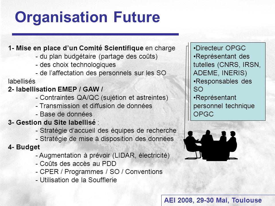 AEI 2008, 29-30 Mai, Toulouse Organisation Future 1- Mise en place dun Comité Scientifique en charge - du plan budgétaire (partage des coûts) - des ch