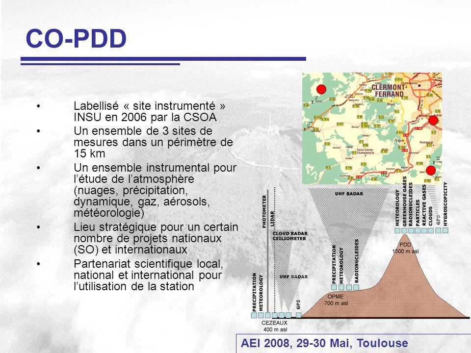 AEI 2008, 29-30 Mai, Toulouse Organisation Future 1- Mise en place dun Comité Scientifique en charge - du plan budgétaire (partage des coûts) - des choix technologiques - de laffectation des personnels sur les SO labellisés 2- labellisation EMEP / GAW / - Contraintes QA/QC (sujétion et astreintes) - Transmission et diffusion de données - Base de données 3- Gestion du Site labellisé : - Stratégie daccueil des équipes de recherche - Stratégie de mise à disposition des données 4- Budget - Augmentation à prévoir (LIDAR, électricité) - Coûts des accès au PDD - CPER / Programmes / SO / Conventions - Utilisation de la Soufflerie Directeur OPGC Représentant des tutelles (CNRS, IRSN, ADEME, INERIS) Responsables des SO Représentant personnel technique OPGC