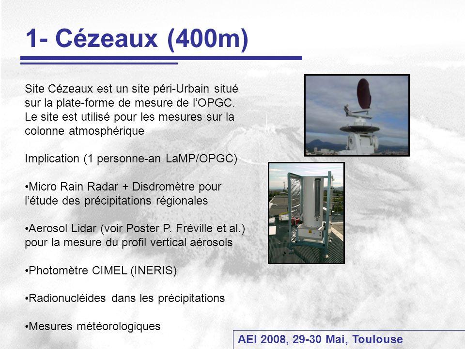 AEI 2008, 29-30 Mai, Toulouse 1- Cézeaux (400m) Site Cézeaux est un site péri-Urbain situé sur la plate-forme de mesure de lOPGC. Le site est utilisé