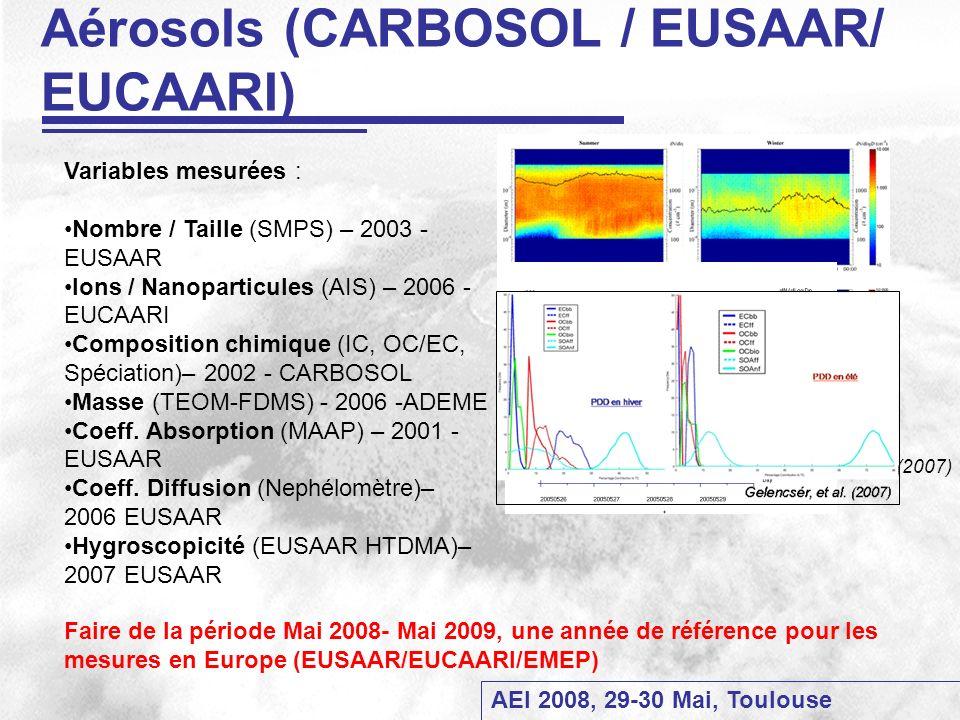 AEI 2008, 29-30 Mai, Toulouse Aérosols (CARBOSOL / EUSAAR/ EUCAARI) Variables mesurées : Nombre / Taille (SMPS) – 2003 - EUSAAR Ions / Nanoparticules