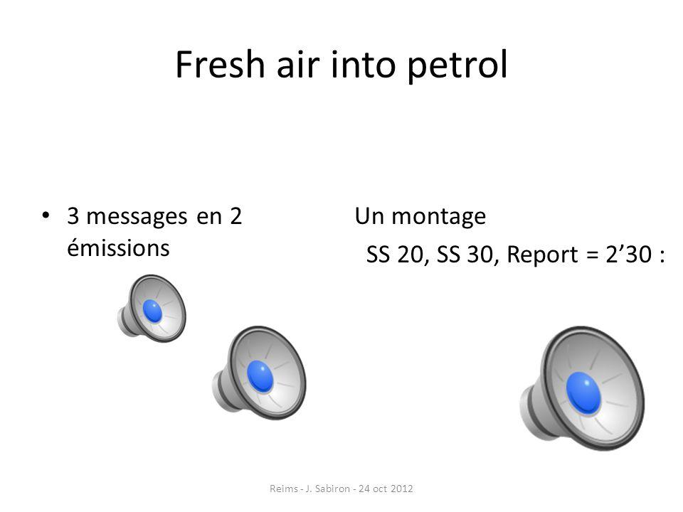 Fresh air into petrol 3 messages en 2 émissions Un montage SS 20, SS 30, Report = 230 : Reims - J. Sabiron - 24 oct 2012