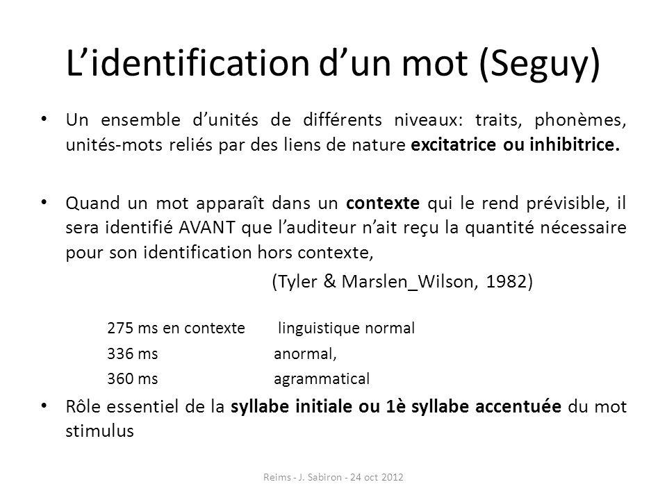 Lidentification dun mot (Seguy) Un ensemble dunités de différents niveaux: traits, phonèmes, unités-mots reliés par des liens de nature excitatrice ou