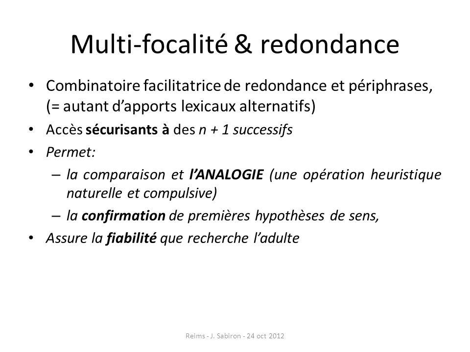 Multi-focalité & redondance Combinatoire facilitatrice de redondance et périphrases, (= autant dapports lexicaux alternatifs) Accès sécurisants à des