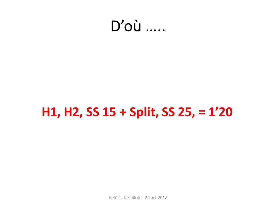 Doù ….. H1, H2, SS 15 + Split, SS 25, = 120 Reims - J. Sabiron - 24 oct 2012