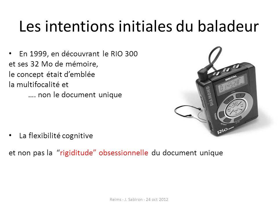 Les intentions initiales du baladeur En 1999, en découvrant le RIO 300 et ses 32 Mo de mémoire, le concept était demblée la multifocalité et …. non le