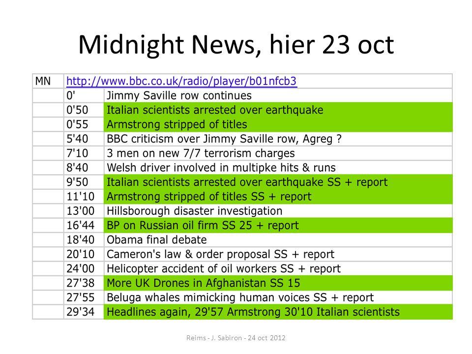 News Briefing, hier 23 octobre Reims - J. Sabiron - 24 oct 2012