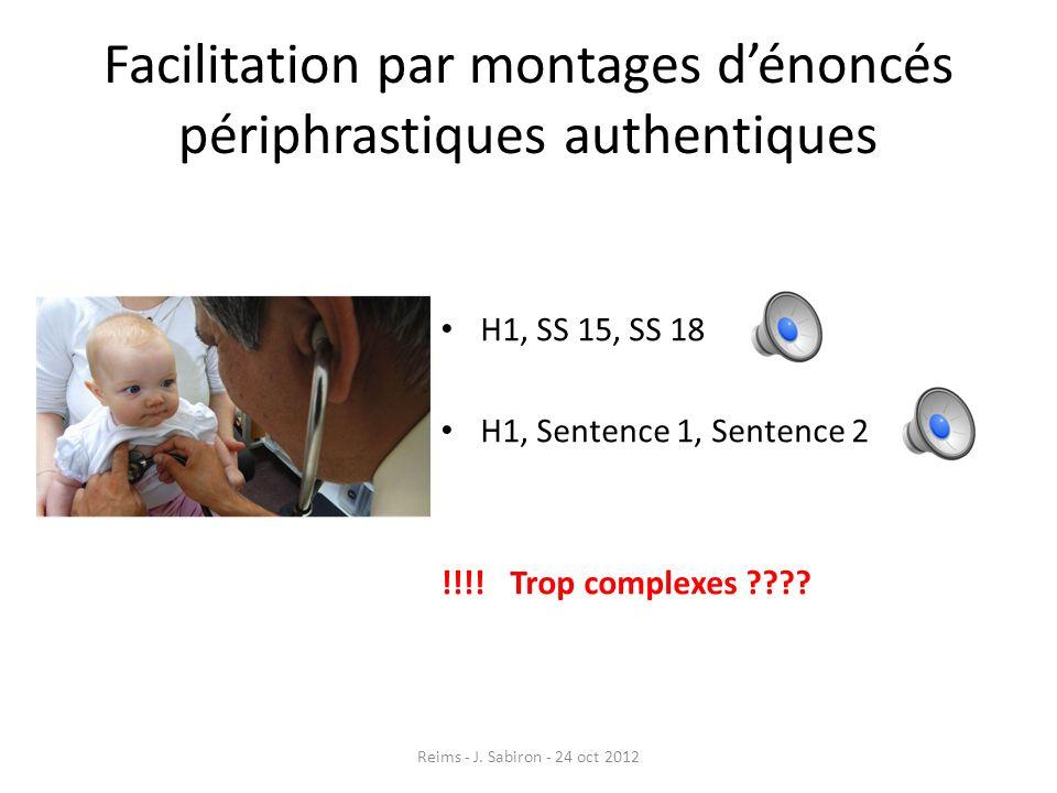 Facilitation par montages dénoncés périphrastiques authentiques H1, SS 15, SS 18 H1, Sentence 1, Sentence 2 !!!! Trop complexes ???? Reims - J. Sabiro
