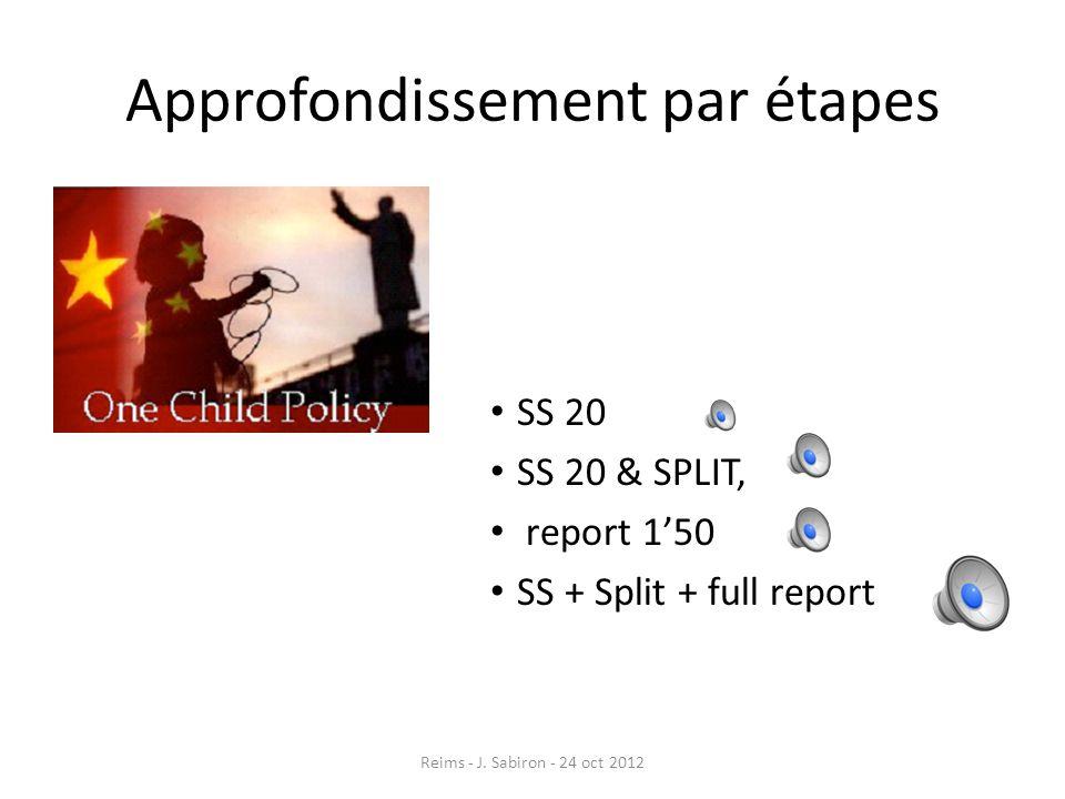 Approfondissement par étapes SS 20 SS 20 & SPLIT, report 150 SS + Split + full report Reims - J. Sabiron - 24 oct 2012