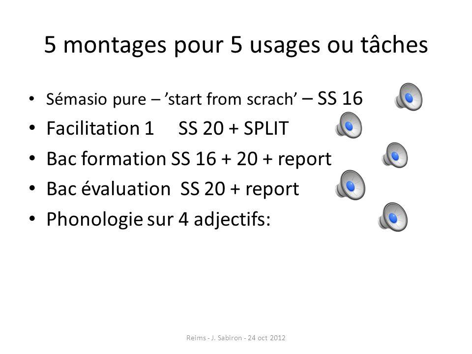 5 montages pour 5 usages ou tâches Sémasio pure – start from scrach – SS 16 Facilitation 1 SS 20 + SPLIT Bac formation SS 16 + 20 + report Bac évaluat