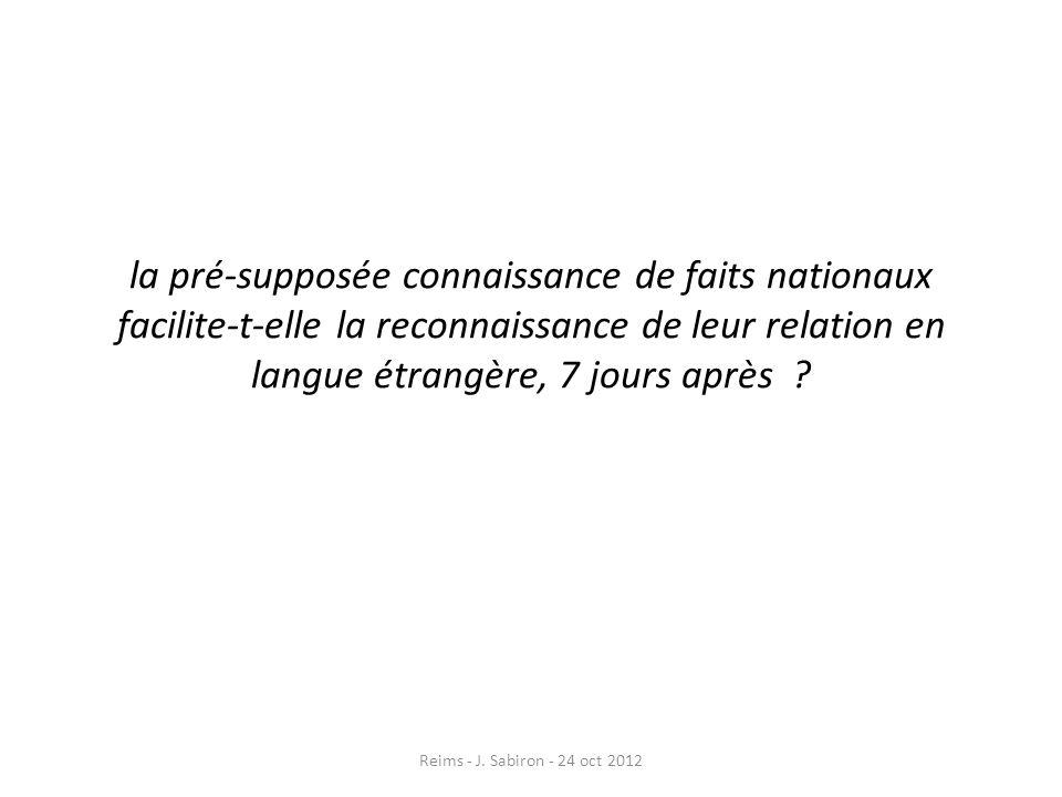 la pré-supposée connaissance de faits nationaux facilite-t-elle la reconnaissance de leur relation en langue étrangère, 7 jours après ? Reims - J. Sab