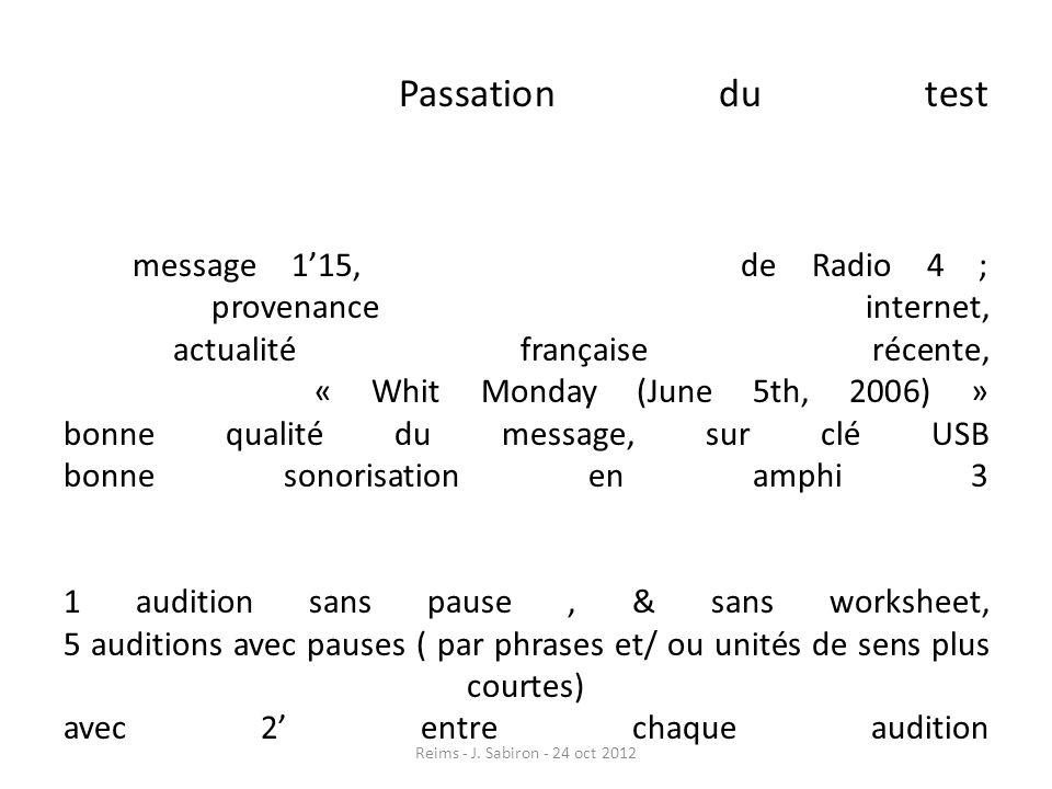 Passation du test message 115, de Radio 4 ; provenance internet, actualité française récente, « Whit Monday (June 5th, 2006) » bonne qualité du messag