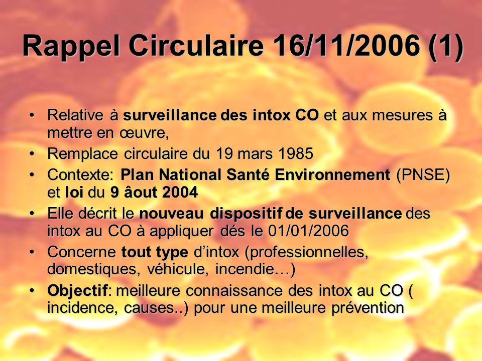 Rappel Circulaire 16/11/2006 (1) Relative à surveillance des intox CO et aux mesures à mettre en œuvre,Relative à surveillance des intox CO et aux mes