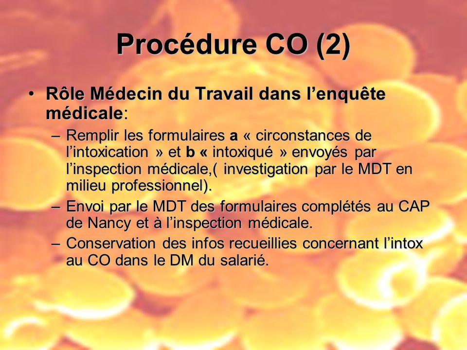 Procédure CO (2) Rôle Médecin du Travail dans lenquête médicale:Rôle Médecin du Travail dans lenquête médicale: –Remplir les formulaires a « circonsta