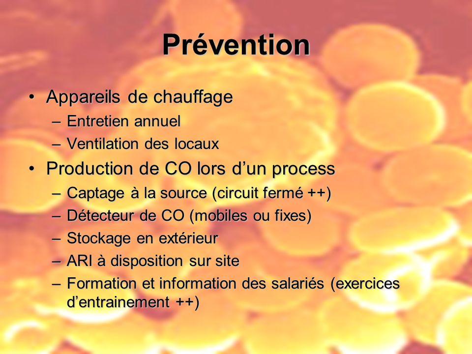 Prévention Appareils de chauffageAppareils de chauffage –Entretien annuel –Ventilation des locaux Production de CO lors dun processProduction de CO lo
