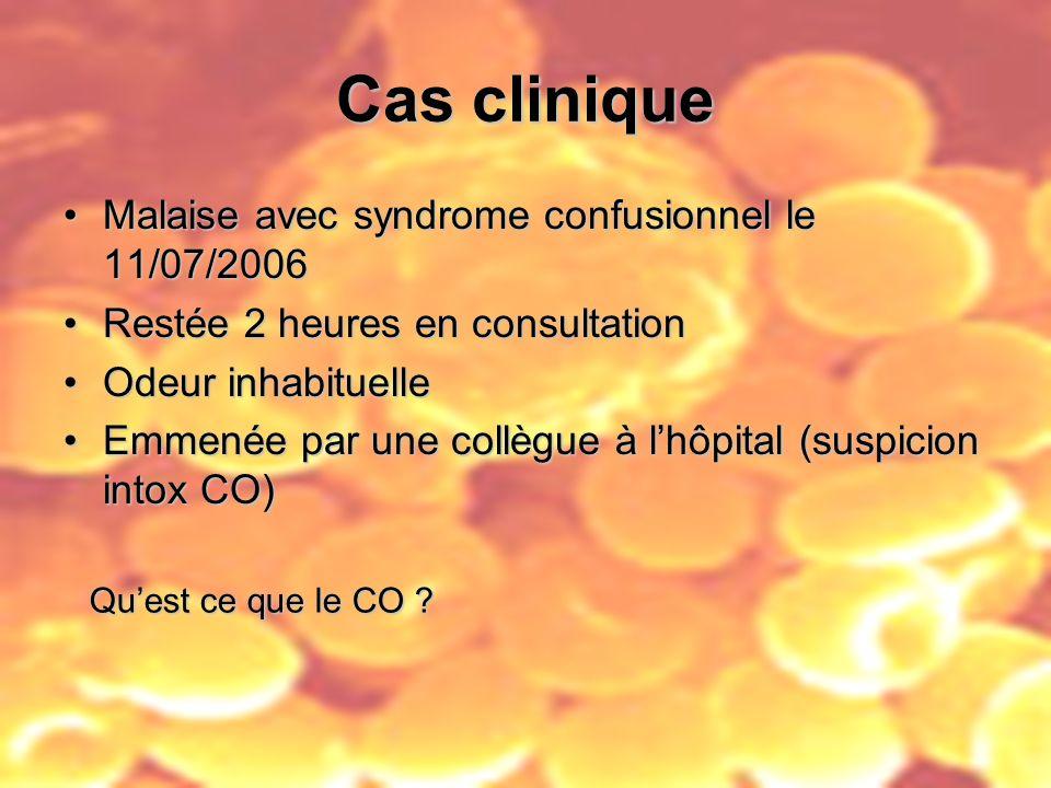 Cas clinique Malaise avec syndrome confusionnel le 11/07/2006Malaise avec syndrome confusionnel le 11/07/2006 Restée 2 heures en consultationRestée 2