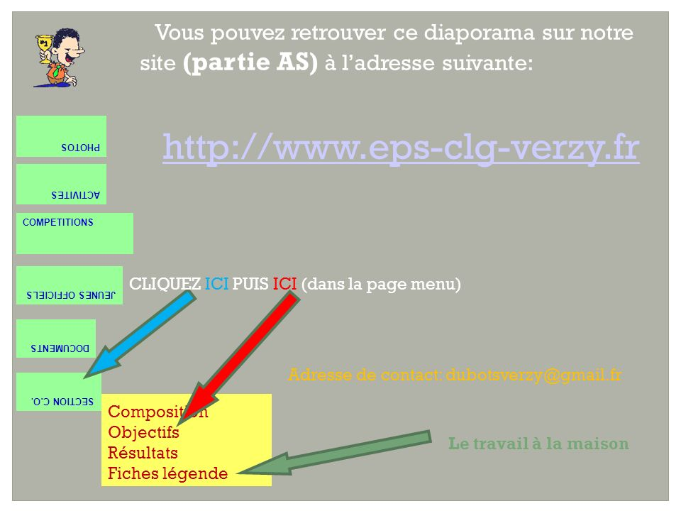 Vous pouvez retrouver ce diaporama sur notre site (partie AS) à ladresse suivante: http://www.eps-clg-verzy.fr ACTIVITES COMPETITIONS JEUNES OFFICIELS DOCUMENTS SECTION C.O.