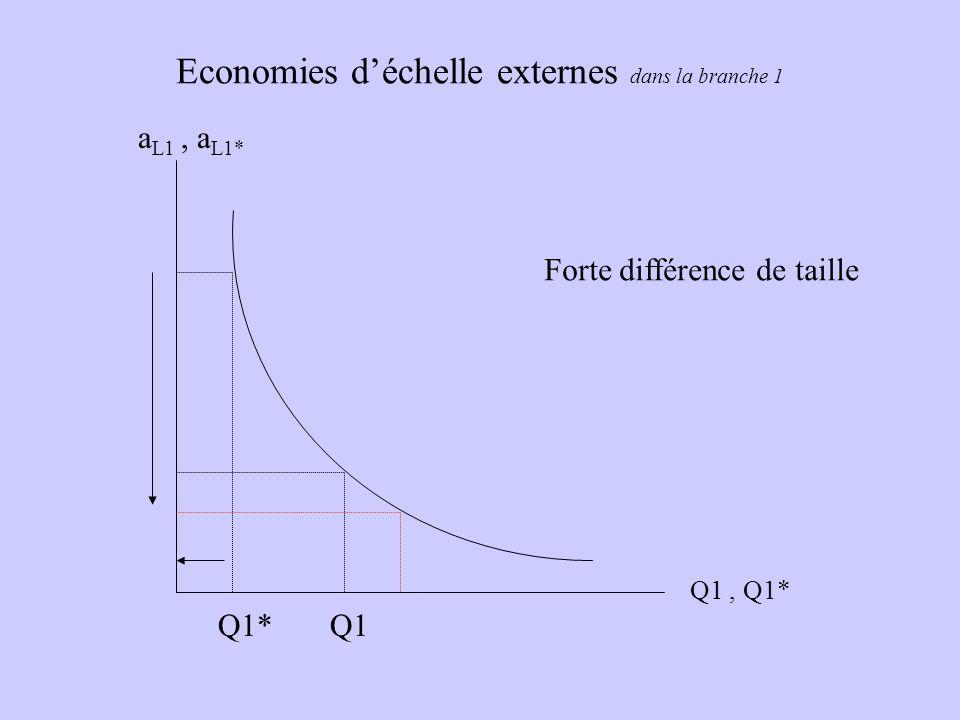 Economies déchelle externes dans la branche 1 a L1, a L1* Q1, Q1* Forte différence de taille Q1Q1*