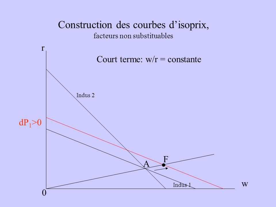 Construction des courbes disoprix, facteurs non substituables Indus 1 Indus 2 A r w 0 F Court terme: w/r = constante. dP 1 >0