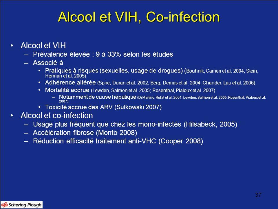 37 Alcool et VIH, Co-infection Alcool et VIH –Prévalence élevée : 9 à 33% selon les études –Associé à Pratiques à risques (sexuelles, usage de drogues